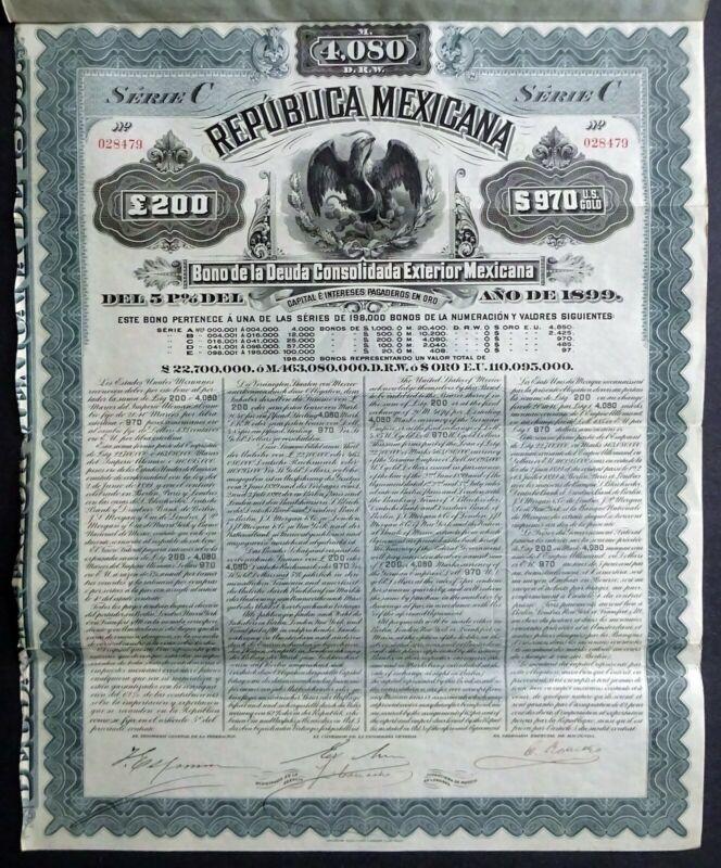 1899 Mexico: Republica Mexicana: Mexican Exterior Gold Bond for £200/$970 Gold
