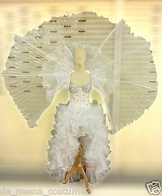 Da NeeNa C523 Flying White Angel Crystal Samba Corset Wings Costume Set](Fly Costume Wings)