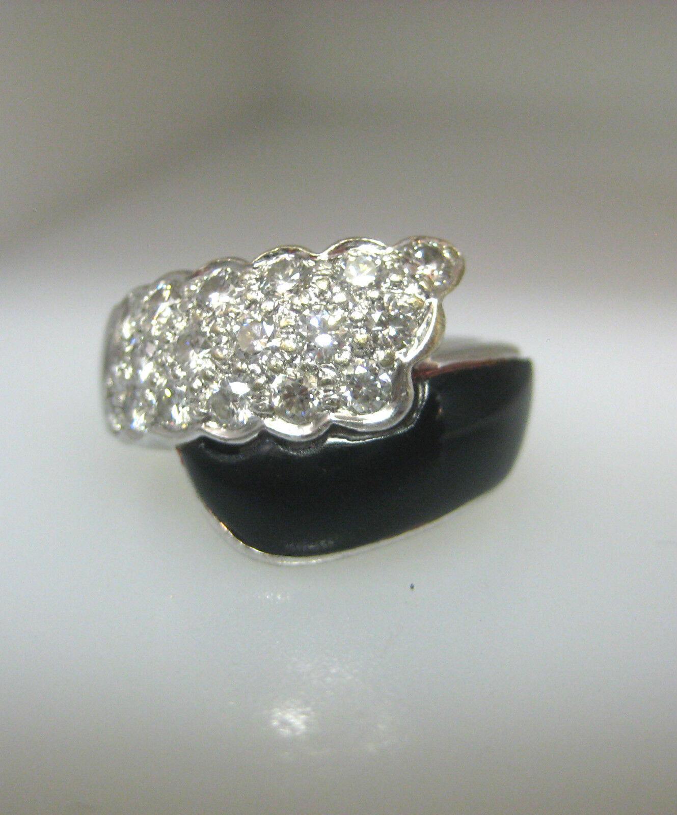 18k white gold black onyx diamonds ring size 6 5