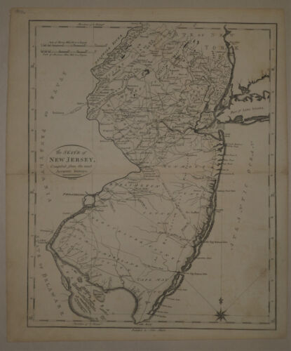 1796 Genuine Antique map of New Jersey. John Reid