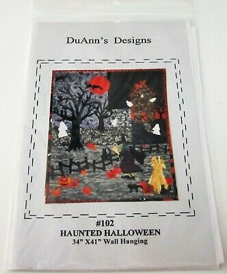 HAUNTED HALLOWEEN Wall Hanging Quilting Sewing Pattern HOUSE Witch BAT Ghost