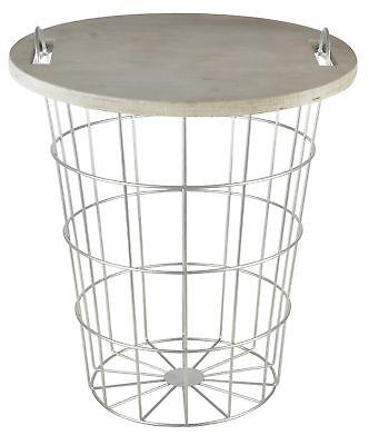 Draht-deckel (Esschert Design Tisch Korb Aufbewahrung Beistelltisch Holz Metall Draht Deckel)