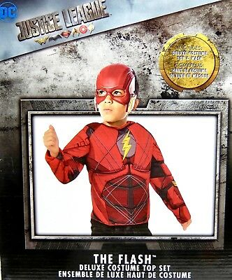 Rubies Justice League The Flash Deluxe Childs Costume Top Mask Boy Girl Size 4-6](The Flash Girl Costume)