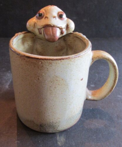 Frog Frogs Mug Handmade Studio Pottery Tonue Hanging Out