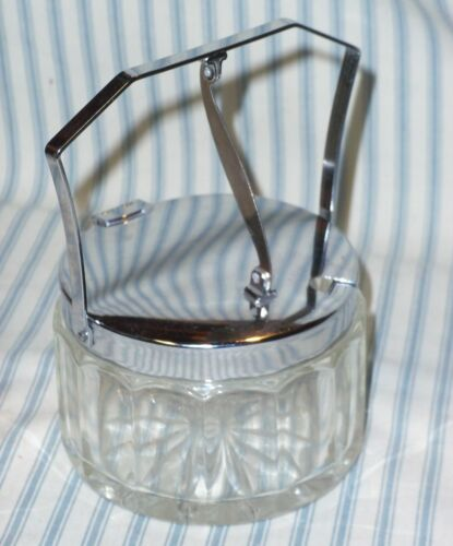 PRESSED GLASS CONDIMENT SUGAR BOWL W/ HINGED RETRACTABLE FLIP CHROME LID