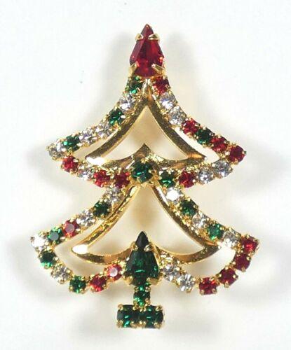 Vintage Christmas Tree Pin Brooch Gold Tone Prong Set Rhinestones Unsigned