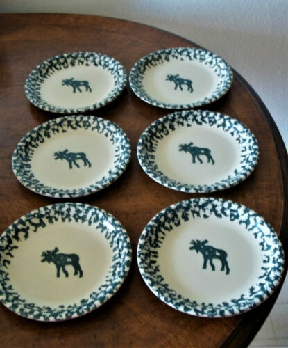 "Tienshan Folk Craft ""MOOSE COUNTRY"" COFFEE MUGS / SALAD PLATES - CHOICE"