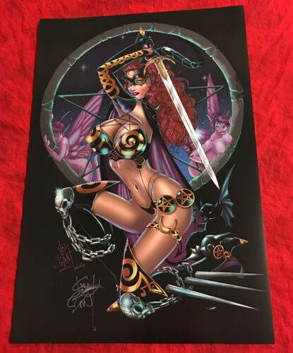 TAROT WITCH OF THE BLACK ROSE~SWORD UP~POSTER~HAND-SIGNED BY JIM BALENT