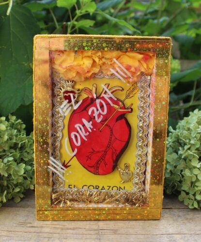 The Heart -  El Corazon Wood Shadow Box Retablo Nicho Handmade Mexican Folk Art