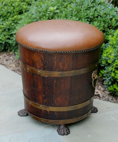 Antique English Oak Ottoman Stool Planter BARREL GOTHIC Lions Garden Flower Box