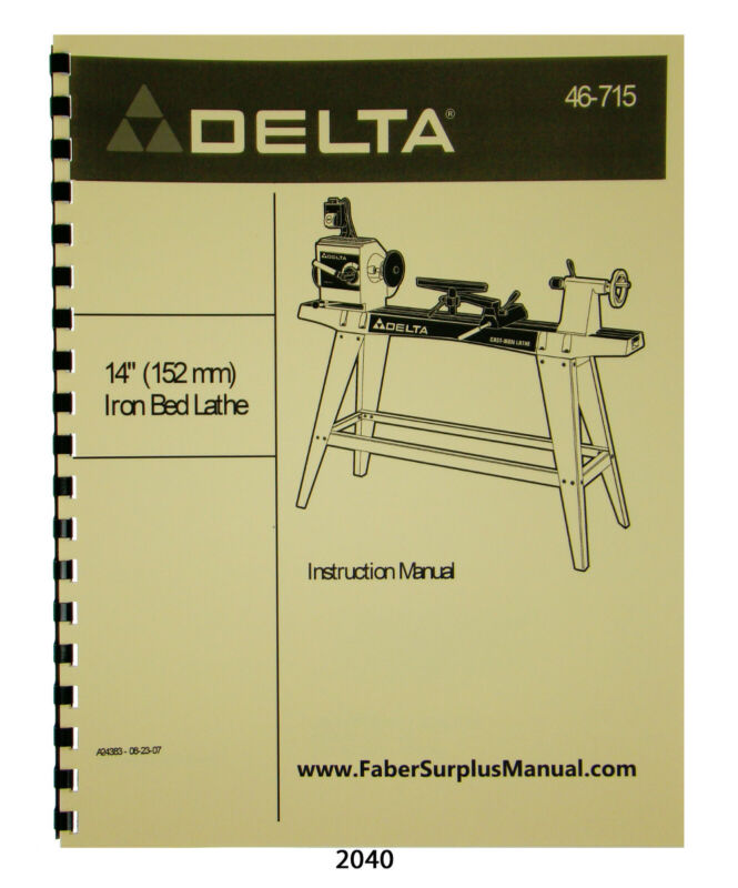 "Delta 14"" Wood Lathe 46-715 Instructions & Parts List Manual #2040"