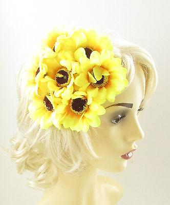 Amarillo Girasol Tocado Flor Accesorio Para Pelo Carreras Boda Rockabilly 1950s