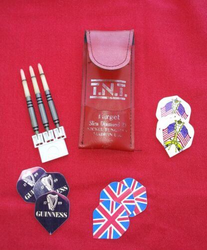 Vintage Unicorn Nickel Tungsten Darts with with Flights in Pouch Made in England