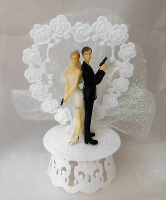 Wedding Reception Ceremony Cop Police Both Guns Bride and Groom Cake Topper](Police Cake Topper)