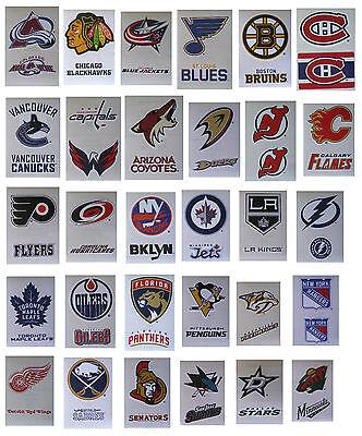 NHL Hockey Decal Stickers 2 Stickers per card - Choose from 30 - Hockey Teams Nhl