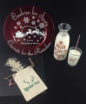 Personalized Cookies for Santa Plate, Carafe, Cup, & Reindeer Food (Personalized Cookies For Santa Plate)