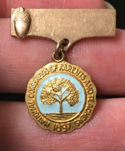National Congress of parents and teachers oak pin Gold filled GF vintage PTA