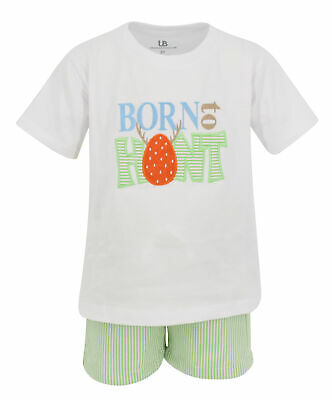 Boys Born To Hunt Easter Eggs Outfit 2t 3t 4t 5 6 7 8 Toddler Kids Clothes - Boys Easter Clothes