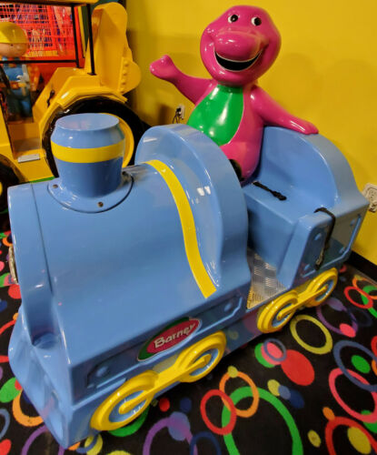 Barney the Dinosaur Mechanical Train Kiddie Ride Arcade Game Simulator Machine