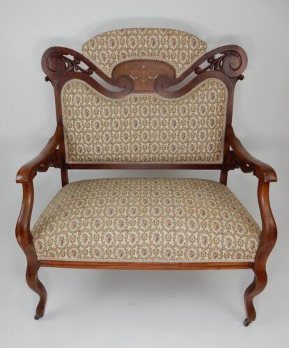 Antique Victorian Walnut Settee Inlaid with Mother of Pearl Great Upholstery. 36