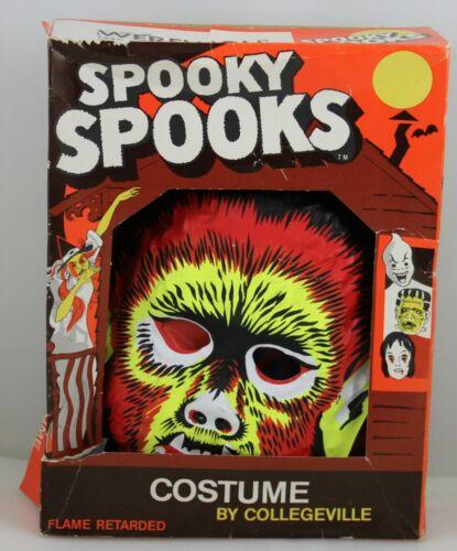 Rare Vinatge WEREWOLF Spooky Spooks Collegeville Halloween Costume Mask 70's
