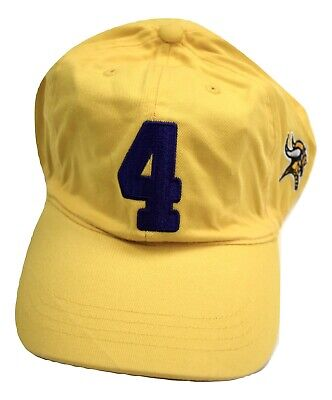NFL Team Apparel Mens Minnesota Vikings Football #4 Yellow Strapback Hat Cap New
