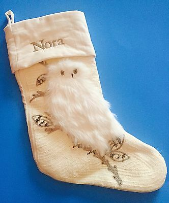 NEW POTTERY BARN Woodland Fur Ivory White Owl Christmas STOCKING NORA