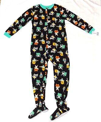 Carters Fleece Footed pajama Blanket Sleeper Sz 14 Happy Monster Black NWT
