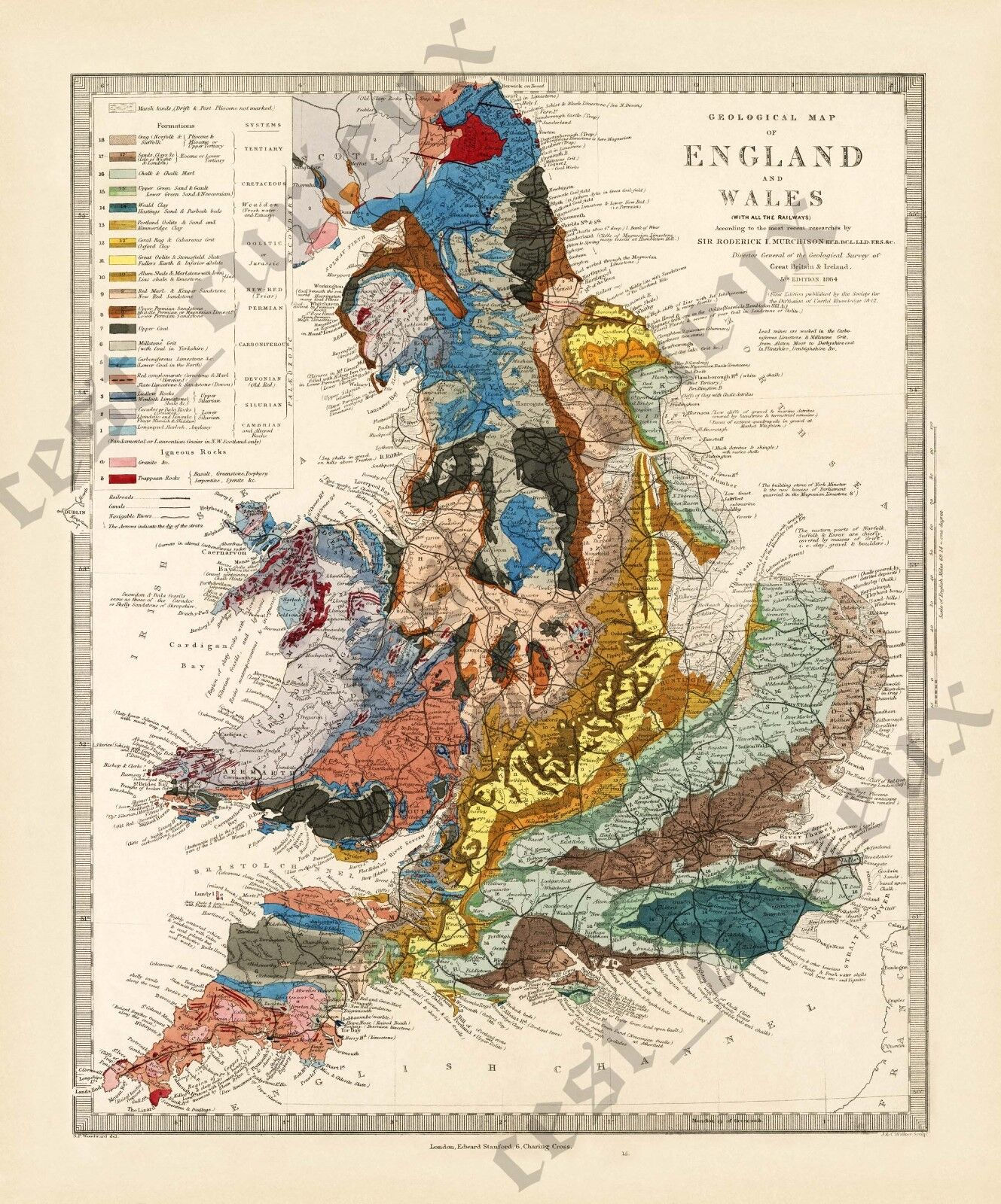 Geological map England & Wales R Murchison 1842 British geology art poster