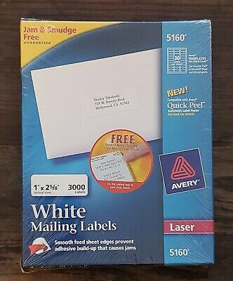 Avery 5160 Mailing Address Labels Laser 1x2-58 White 3000box Bonus New