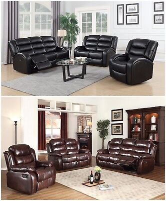 The Room Style New Motion Sofa Loveseat Recliner Living Room Bonded Leather Set