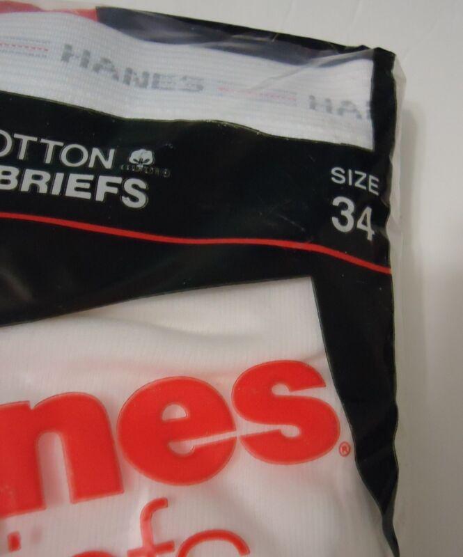 NOS Vtg 34 Red Gray Stripe Waist Hanes White 100% Cotton Briefs 1987 UNWORN NIP