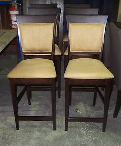 BAR CHAIRS IN CAMEL SUEDE TIMBER FRAME WALNUT COLOUR Thebarton West Torrens Area Preview