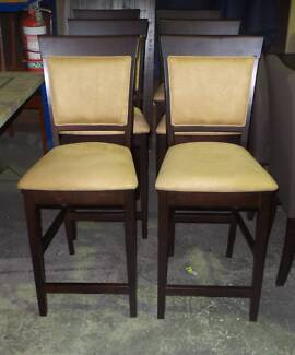 BAR CHAIRS IN CAMEL SUEDE TIMBER FRAME WALNUT COLOUR
