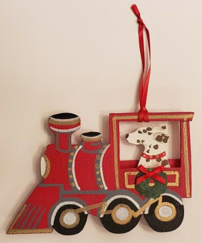 Dalmatian W/Liver Spots on a Train Christmas Ornament