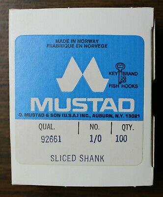 100 Vintage Mustad Aberdeen Fish Hooks 3261 Size 6 Ringed Bronzed