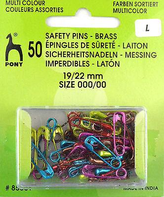50 Sicherheitsnadeln 19/22 farbig - Metallic-Farben - rostfrei