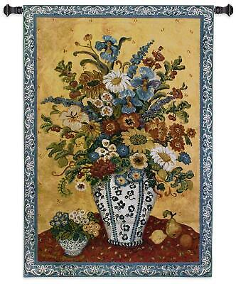 Blue Floral Tapestry (Suzannes Blue & White  North American Made Woven Floral Tapestry Wall Hanging)