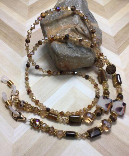 Handmade Tigerseye Stone Eyeglass/Mask/Lanyard W/Badge Swarovski Elements USA
