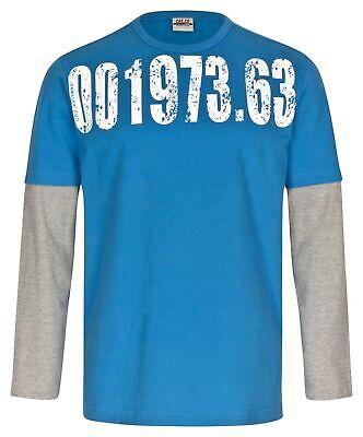 CROSS Herren Sweatshirt double layer shirt T-Shirt Skater Blau Zifferdruck Gr. L (Cross Sweatshirt Herren)
