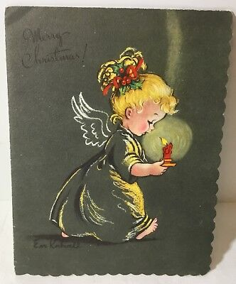 Vtg EVE ROCKWELL Christmas Card Pretty Blond Angel Girl w/Red Candle Bible Verse ()