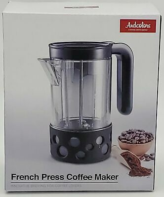 French Press Coffee-maker Coffee Press 2 cups 17 oz (Black, Silicone)