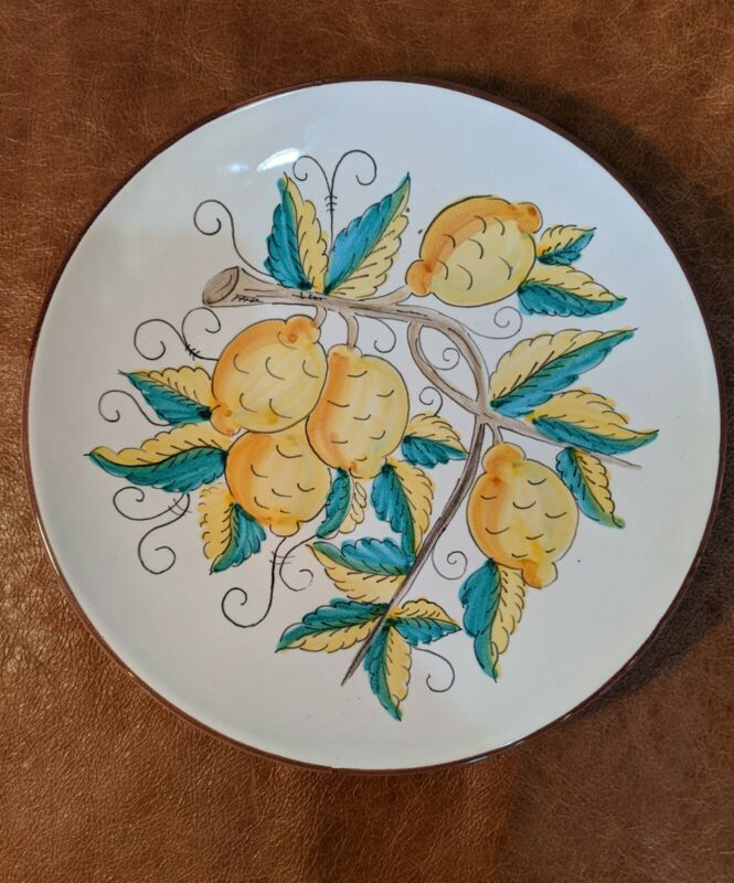 Sorrento Italy Lemon And Leaves Dinner Plate 10""