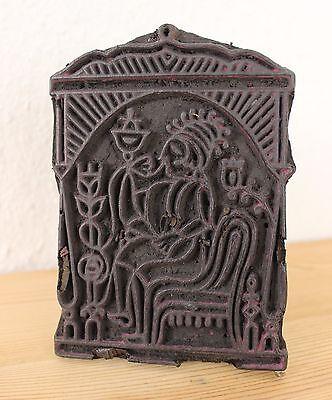 toller antiker Blaudruckstempel -  Holzmodel - handcarved - Druckstock - IV