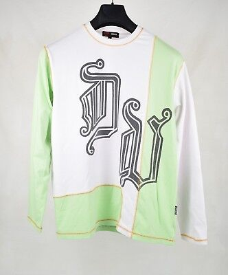 Versace Sport Mens Shirt Long Sleeve White Green Stitches M