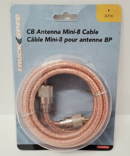 TS-8X9CL 9 CB Antenna Mini-8 Clear Coaxial Cable W/ PL-259 Connectors FREE SHIP - $15.04