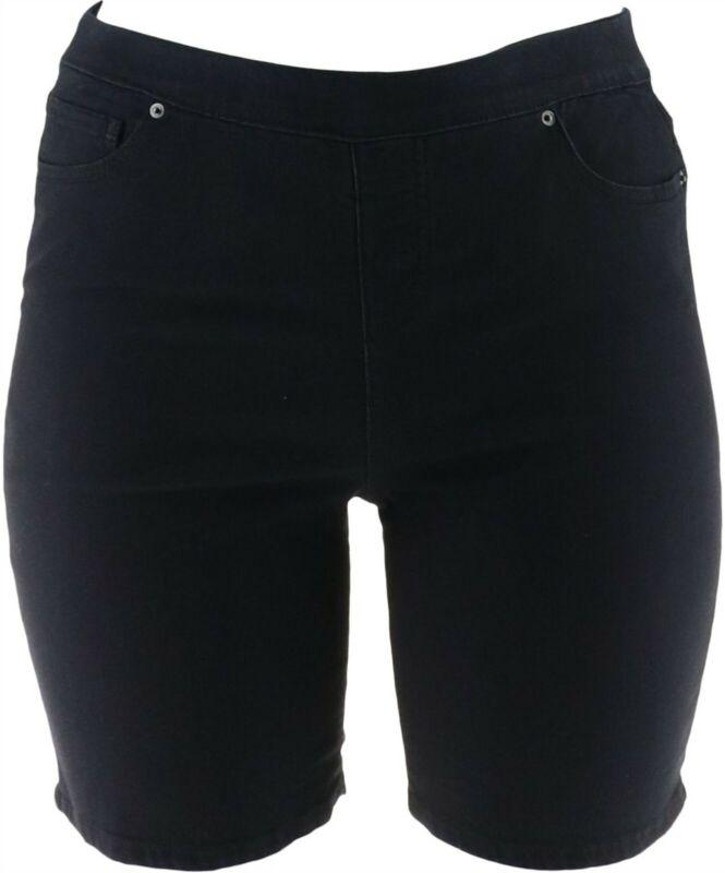 Women with Control My Wonder Denim Pull-On Shorts Black Indigo 12 NEW A290743