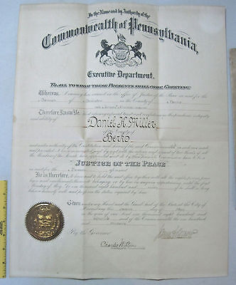 Original 1889 Berks County PA Justice of the Peace Appointment, Pennsylvania