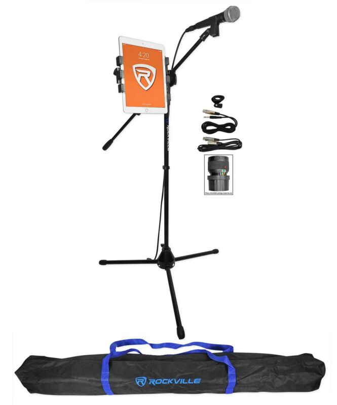 Rockville Tripod Karaoke Microphone Stand+Mic w/iPad/Tablet Clip Mount+Carry Bag