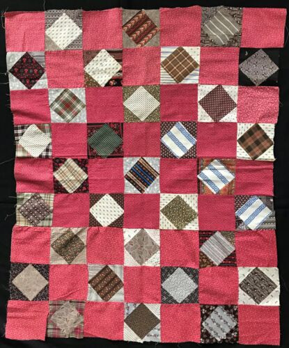 1870 Square in a Square with Cinnamon Pink Hearts Fabric Crib Quilt Top